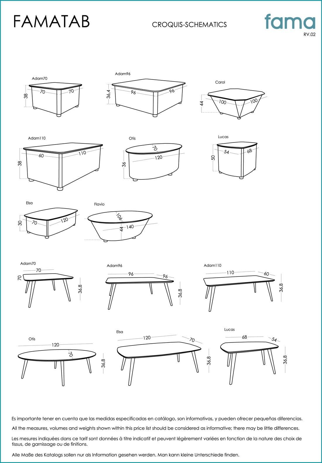 table-cafe-moderne-otis-specification